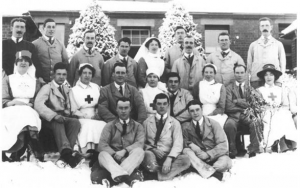 The staff of Kington's Red Cross Hospital with some of the recuperating patients treated there.